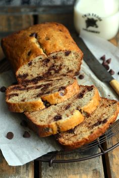{Sour Cream Chocolate Chip Banana Bread} - http://www.countrycleaver.com  Extra chocolatey, super tender, and your mama will be asking YOU for the recipe!!