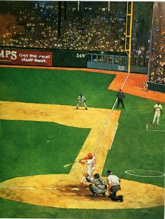 """First Season"" oil on canvas. Texas Rangers Will Clark at bat. 1994 painting by Bart Forbes."
