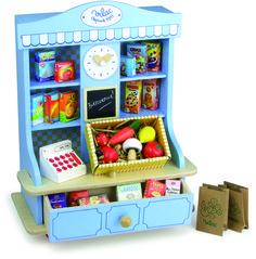 Un bonito colmado a la vieja usanza con todos los accesorios necesarios para la hora de juego: bolsas, envases, cajas, frutas y verduras, bolsas de papel kraft y caja registradora.  Un total de 27 elementos.