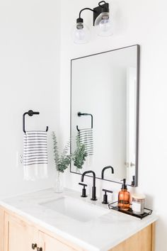 Before and After: Modern Farmhouse Half Bathroom Reveal White and Black Modern Farmhouse Bathroom Remodel Modern Farmhouse Bathroom, Modern Bathroom Decor, Bathroom Interior Design, Decor Interior Design, Small Bathroom, Modern Decor, Bathroom Ideas, Farmhouse Interior, Master Bathroom