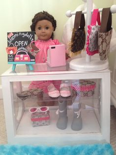 Store display for your American Girl or 18 inch by lilyvictoria American Girl Store, My American Girl Doll, American Girl Crafts, American Girl Clothes, Girl Doll Clothes, Ag Dolls, Girl Dolls, Ag Doll Crafts, American Girl Furniture