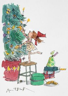 Christmas tree discovered by Imogen on We Heart It Winter Illustration, Christmas Illustration, Children's Book Illustration, Watercolor Illustration, Christmas Tree Dress, Christmas Colors, Christmas Art, Xmas, Quentin Blake Illustrations