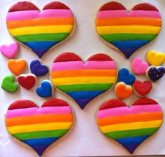HayleyCakes and Cookies Taste The Rainbow, Rainbow Heart, Over The Rainbow, Valentine Cookies, Holiday Cookies, Valentines, Heart Cookies, Cupcake Cookies, Cookie Time