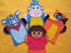 Dora+Puppets You+will+get+all+4+puppets Dora Boots Swiper Benny You+can+order+it+in+any+Color+you+wish Please+send+me+a+note+to+what+color+you+would+like These+are+hand+cut,+the+body+is+machine+sewn+and+the+pieces+are+glued+with+hot+glue. puppets+can+fit+kids+and+adults+hands. P...