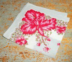Vintage Handkerchief, Floral, Pink, Grey, Ladies, Vintage Hankie, Old Handkerchief, Pocket Square, Hanky, Hankie With Flowers, Old Hankies by TheBackShak on Etsy