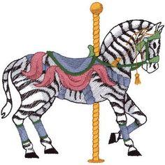 Zebra Carousel embroidery design