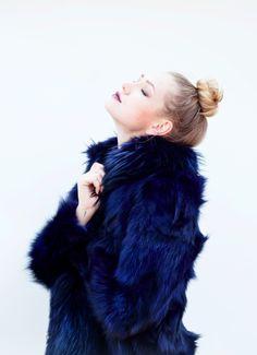 royal blue fur coat