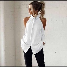 Casual Off-Shoulder Turndown Collar Splicing Pure Colour Blouse will make a romantic out of you! Diy Fashion, Ideias Fashion, Fashion Dresses, Womens Fashion, Mode Outfits, Casual Outfits, Looks Chic, Personalized T Shirts, Diy Clothing