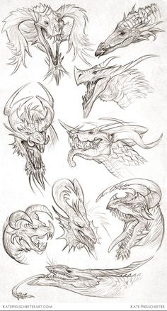 Daily Dragons by KatePfeilschiefter on deviantART Inspiring Artist Sketchbooks - Resources for Art Students CAPI- Create Art Portfolio Ideas Creature Drawings, Animal Drawings, Drawing Animals, Pencil Drawings, Fantasy Dragon, Fantasy Art, Fantasy Wesen, Dragon Anatomy, Dragon Sketch