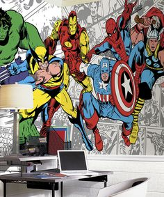 Adorn the walls with this heroic Marvel character mural that comes in pre-pasted strips that can be dipped in water and stuck on the wall fo...