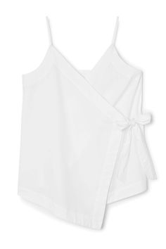 The Wrap Strap Singlet has a flattering wrap-construction,slender shoulder straps and anasymmetrical front hem. It is woven in thin cotton poplin. - Size Small measures 90,50 cm in chest circumference and 44 cm inback length.