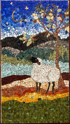 """Sheep and Moon"" Mosaic by Jenny Brown"