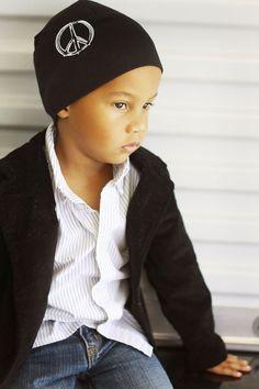 #jamierae peace sign boys black knit hat #babyboutique