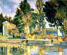 """Paul Cézanne (1839-1906) """"Jas de Bouffan, the pool """"."""