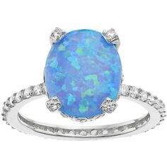 Sophie Miller Sterling Silver Lab-Created Blue Opal & Cubic Zirconia... ($185) ❤ liked on Polyvore featuring jewelry, rings, blue, oval ring, opal rings, sterling silver jewelry, sterling silver cz rings and cubic zirconia rings