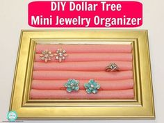 Mini Jewelry Organizer made with things from Dollar Tree. I love making my own things and if I can get all the materials to make something for free or at dollar tree than it makes me even more happier. Today I want to share with you a DIY Dollar Tree Mini Jewelry Organizer that I created just using Dollar Tree items The materials you will need is a 4x6 picture frame and a 6 pack of these long pink skinny hair rollers. You only need six rollers but I got two packs because I always l…