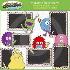 AASDDD4502 Monster Chalk Boards Clip Art Download
