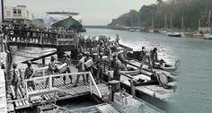 Then and now... Loading K rations, Weymouth Harbour,Dorset , Uk 1944 - 2014