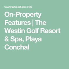 On-Property Features | The Westin Golf Resort & Spa, Playa Conchal