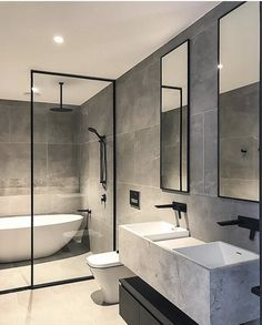 Brookville Road Residences by Megowan Architectural - Bathroom - Bathroom Decor Bathroom Renos, Bathroom Layout, Bathroom Renovations, Bathroom Ideas, Bathroom Storage, Bathroom Organization, Wet Room Bathroom, Bathroom Mirrors, Remodel Bathroom