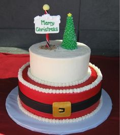 Santa's belt Christmas Cake (just use the bottom layer and then put fondant santa on top)