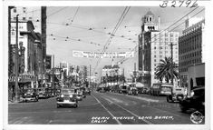 Ocean Avenue in downtown Long Beach, California as seen in a Frasher's Fotos postcard which is dated, apparently erroneously, as I don't see a single car here that looks even and. Long Beach California, Southern California, Downtown Long Beach, Before I Sleep, San Luis Obispo County, Miles To Go, Old Buildings, Santa Barbara, 1930s