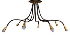 Buy Meander Leather and Brass Flexible Arm Chandelier by Avantgarden - Made-to-Order designer Chandeliers from Dering Hall's collection of Contemporary Industrial Mid-Century / Modern Organic Lighting.