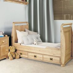 Amelie Solid Oak Baby Cot-Bed with Three Drawers -  - Bed - Baumhaus - Space & Shape - 2