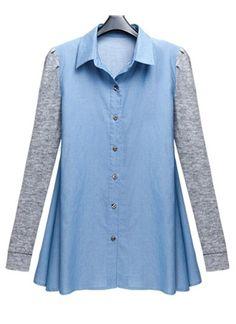 Blue Lapel Long Sleeve Single Breasted Cotton Shirt