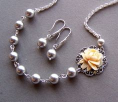 Bridesmaids Necklace and Earring Set  Swarovski  by lecollezione,