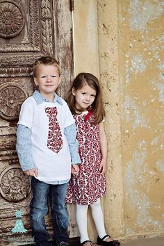 fun tie shirt with dress shirt, and matching sister pillowcase dress!