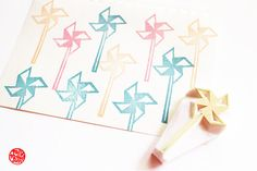 paper windmill hand carved rubber stamp. wind mill stamp. i used make them with my grandparents. SIZE: about 6cmX3cm (2.25inX1.2in) ABOUT RUBBER STAMPS: • made to order • 10mm thick soft rubber block • block color may vary • backings or handles - optional with extra cost • materials