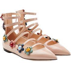 Fendi Embellished Patent Leather Ballerinas ($930) ❤ liked on Polyvore featuring shoes, flats, rose, pointed-toe ankle-strap flats, beige ballet flats, strappy ballet flats, ballet flats and strappy flats