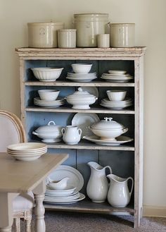 Pretty cabinet full of ironstone...Frog Goes to Market