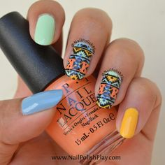 Aztec Tribal Stamping Decals with MoYou London Explorer 26 – Nail Polish Play