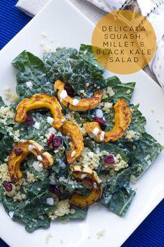 Delicata Squash, Millet & Black Kale Salad with Maple Lemon Tahini Dressing {vegan + gluten-free}   A hearty, fall salad recipe   KLEAN KUISINE