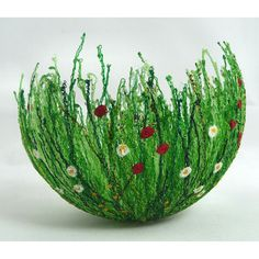 How incredibly beautiful is this bowl? Machine embroidered onto water soluble fabric, then moulded into shape.
