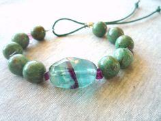 Green African Jade semiprecious stones bracelet.Gemstone bracelet. Fluorite and African Jade bracelet.Adjustable bracelet. (52.00 USD) by Iridonousa