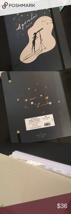Kate Spade Agenda Planner Calendar 2018 NEW Brand new adorable navy blue agenda. Written in the stars. This one has the concealed spiral and is around 9x7 inches. Comes with lots of tabs and fun stickers. Plus gorgeous astrology pages for each month. Price firm. kate spade Accessories