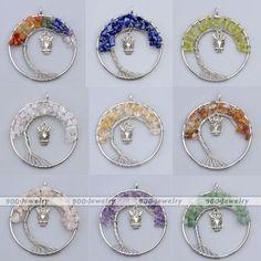 7 Chakras Quartz Gravel Beads Wire Wrap Owl Dangle Pendant Charm For Necklace