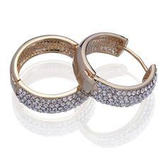Women Golden Hoop Loop 18KGP Crystal Earrings Ear Stud