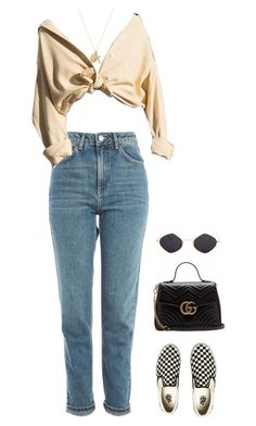 """x"" by mclarasouza ❤ liked on Polyvore featuring Topshop, Vans, Gucci and ERTH"