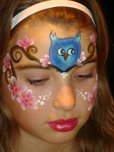 Stephanie's Face Painting » Owl sitting on a tree mask