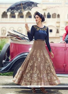 Modest Jacquard Beige And Navy Blue Readymade Anarkali Suit Model: YOS9303