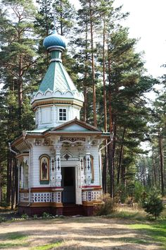 A small orthodox chapel on the Konevets Island, Lake Ladoga, Russia