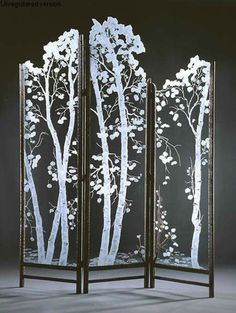 New glass screen divider lights 62 Ideas Stained Glass Art, Fused Glass, Dressing Screen, Dremel Projects, Diy Projects, Aspen Trees, Birch Trees, Room Screen, Screen Doors