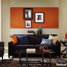 A feature wall doesn't always have to be a full wall. This feature piece is painted in Fiery Orange from the Fleetwood Popular Colours range.