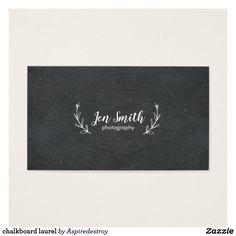 chalkboard laurel business card design black and white monochrome