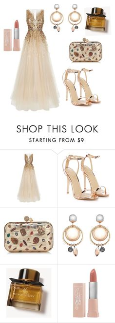 """""""🥂💓❤️"""" by olgakurganova ❤ liked on Polyvore featuring Jenny Packham, Nasty Gal, Jimmy Choo, Burberry and Maybelline"""