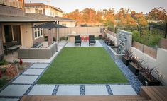 Entertain guests in the artificial turf or hardscape while watching water features in the outdoor lounge surrounded by Mexican beach pebbles. Backyard Arizona, Desert Backyard, Backyard Patio Designs, Modern Backyard, Small Backyard Landscaping, Landscaping Rocks, Hard Landscaping Ideas, Terraced Backyard, Florida Landscaping